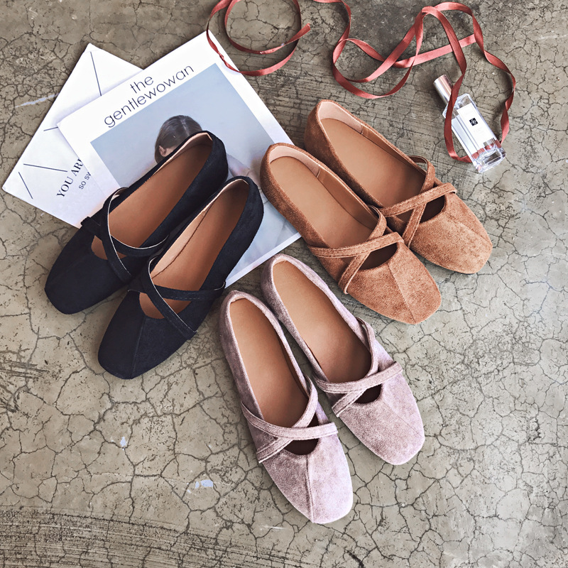 HIZCINTH 2018 Spring Ballet Flats Shoes Woman Suede Square Toe Comfortable Single Shoes Vintage Casual Slip-on Casual Loafers hizcinth 2018 spring women shoes shallow lace up square toe single shoes woman geometric stars casual flats platform shoes