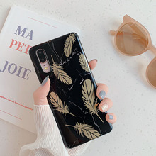 Feather Print Phone Case For Huawei P20 P30 Pro Lite Soft Silicone Back Cover Coque Mate 20 Marble Pattern