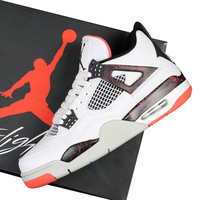 Jordan Retro 4 Men Basketball Shoes Pale Citron bred NRG Black Cat White Cement Outdoor Sport Sneakers Singles Day Red