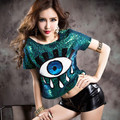 2015 Free Shipping Summer Style New Fashion Big Eyes Paillette O-neck T Shirt  Short Sequined Women SequinsT Shirt