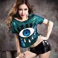 2015 frete grátis verão estilo de moda de nova olhos grandes Paillette camiseta O pescoço curto lantejoulas mulheres SequinsT camisa