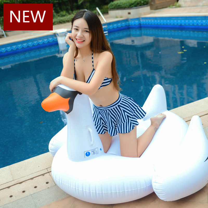 150cm White Swan Inflatable Ride On Pool Unicorn Float Inflatable Pool Flamingo Swim Ring Holiday Water Fun Toys Air Mattress
