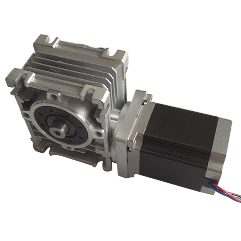 NMRV30 Worm Gearbox Ratio 30 1 with single output shaft NEMA23 1 8Nm stepper motor 76mm