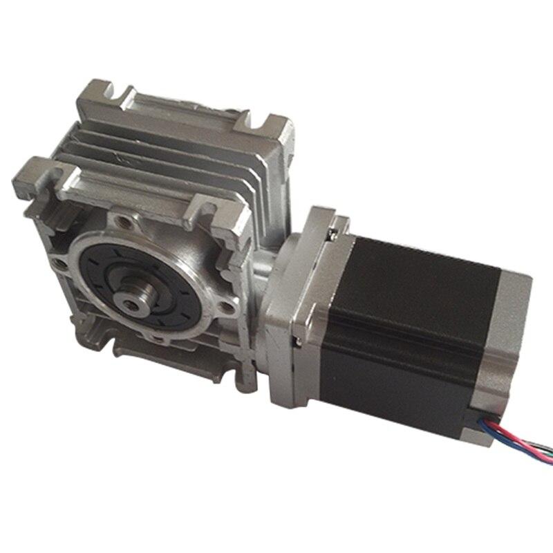 цена на NMRV30 Worm Gearbox Ratio 30:1 with single output shaft+NEMA23 1.8Nm stepper motor 76mm 3A