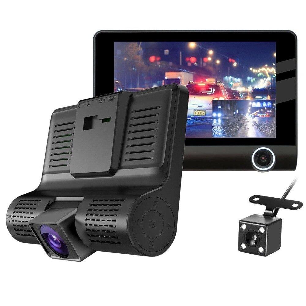 Full HD 1080 P de Lente Dupla Do Carro DVR Câmera de 4.0 polegada de Tela LCD 170 Graus de Visão Noturna Retrovisor Auto Traço g-sensor Da Câmera Gravador