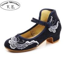 86c2fe9e46 Mulheres de Baixa Calcanhar Bloco Lona Borboleta Bordado Bombas com Tira No  Tornozelo Senhoras Retro Sapatos