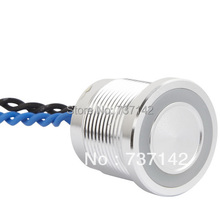 ELEWIND Silver color aluminum anodized piezo push switch (19mm,PS193P10YNT1R24L,Rohs,CE)