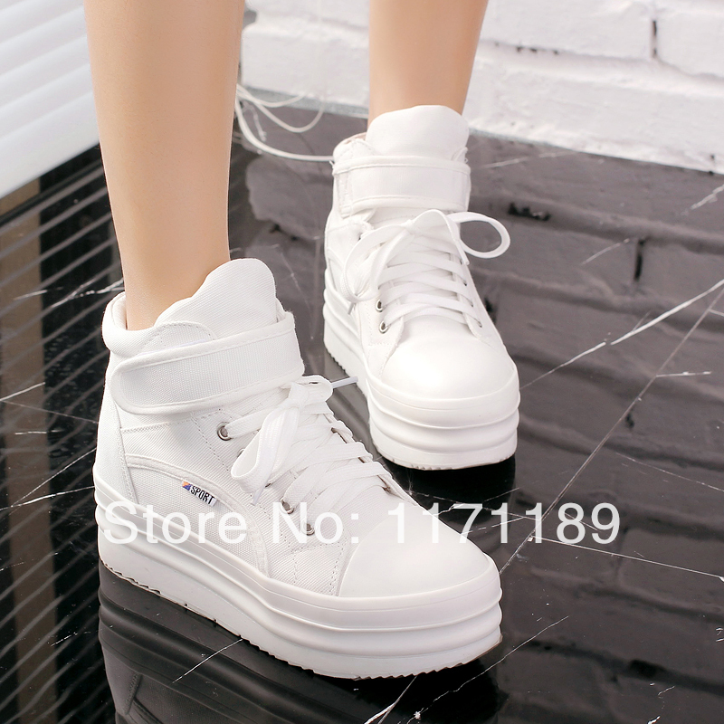 Women s Flat Platform Canvas Sneakers High Top Lace Up Ankle Boots Girl s School  Shoes Tennis Shoes us size5 6 7 8 9 -in Women s Flats from Shoes on ... b7af8bcc4