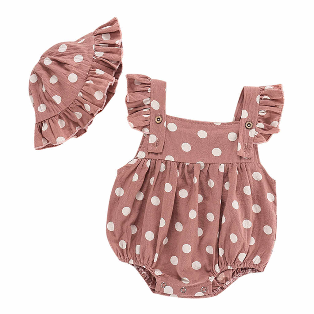 New Born Baby Clothes Infant Baby Girls Sleeveless Ruffles Dot Print Romper Bodysuit+Hat Set Roupas Kids Summer Cotton Clothing