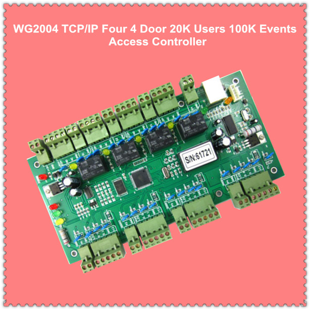 WG2004.NET TCP/IP Four 4 Door Access Controller 20K Users 100K Events MEM Fire Protection &Alarm Trigger Programmable Logic