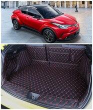 Para a Toyota CHR C-HR IZOA 2017 2018 2019 Completo Traseiro Tronco Bandeja Liner Carga Mat Piso Protector pé esteiras pad bordado de Couro