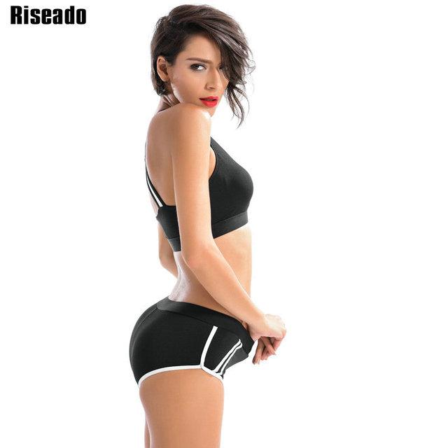 Riseado Sports Swimwear Women Bikini Set 2017 Cross Bandage Low Waist Swim Wear Summer Beach Swimsuit New Bathing Suits