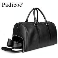 Padieoe Genuine Leather duffle Bags big Large Capacity Travel Bag for Men Handbag waterproof Tote Bag with Strap Men's Luggage