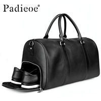 Padieoe Genuine Leather duffle Bags big Large Capacity Travel Bag for Men Handbag waterproof Tote Bag with Strap Men's Luggage