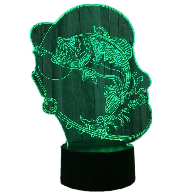 Bubble Fish 3D LED Lamp 7 Color Change USB Charge Touch Button Table Lamps  Amazing Gifts