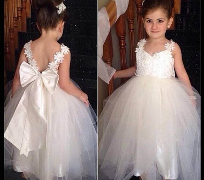 2017 Brand New Flower Girl Dresses White Lace Party Pageant Communion Dress Little Girls Kids/Children Dress for Wedding summer 2017 new girl dress baby princess dresses flower girls dresses for party and wedding kids children clothing 4 6 8 10 year