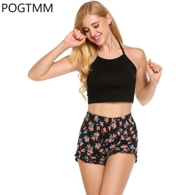 995dc0f9fdc Lady Pajamas Set Halter Sleeveless Crop Top And Print Shorts Women Lounge  Sleepwear Pyjama Big Size Home Suit Sleep Set XXL YP