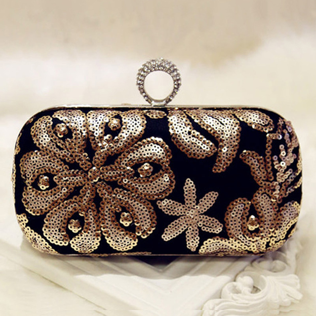 b21951d2bd Gold Sequin Flower Wedding Evening Bags Vintage Female Ring Clutches Ladies  Shoulder Bag with Chain Strap