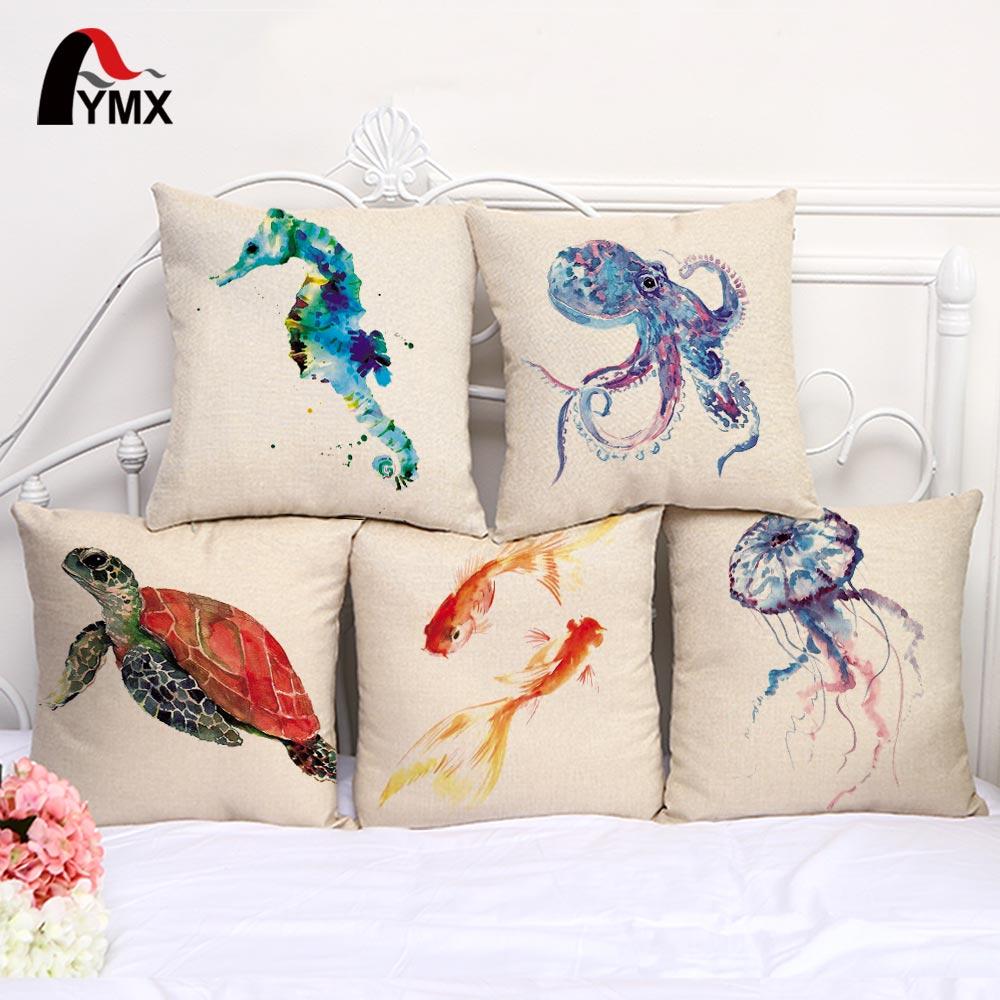 Turtle Cushion Cover Marine Biology Mizuki Hippocampus Octopus Goldfish Cotton and Linen Pillow Case Home Decoration Pillowcase