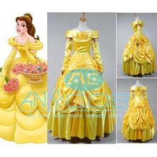 Beauty and the Beast Cosplay Costume Princess Belle Yellow Evening Gown font b Dress b font