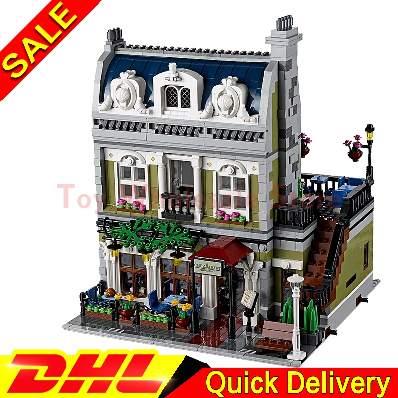 LEPIN 15010 Parisian Restaurant MOC Expert City Street Model Building Block Set Bricks Kit Set lepins toys Clone 10243 dhl new 2418pcs lepin 15010 city street parisian restaurant model building blocks bricks intelligence toys compatible with 10243