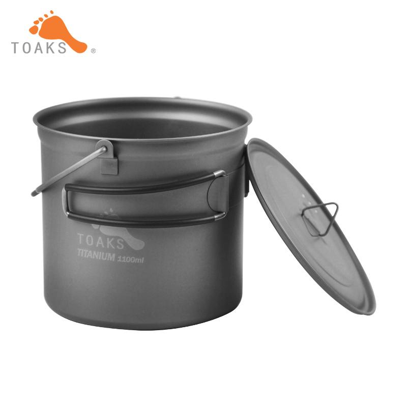 Prix pour TOAKS Titanium Pot Marmites Pique-Nique Accrochez Pot Camping Portable Ultra-Léger Titanium Pot 1100 ml POT-1100-BH