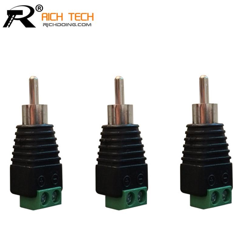 3pcs/lot CCTV Phono RCA Male Plug TO AV Terminal Connector Video AV Balun International Standard techlink wires1st 3 x rca phono plugs rgb to 3 x rca phono plugs rgb 5m 640145