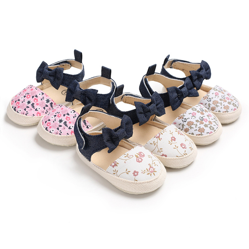 LANSHITINA First Walkers Baby Print Flower Shoes Newborn Girls Soft 0-18Months Carton Shoes Kids Sneakers For Girl Toddler C-468