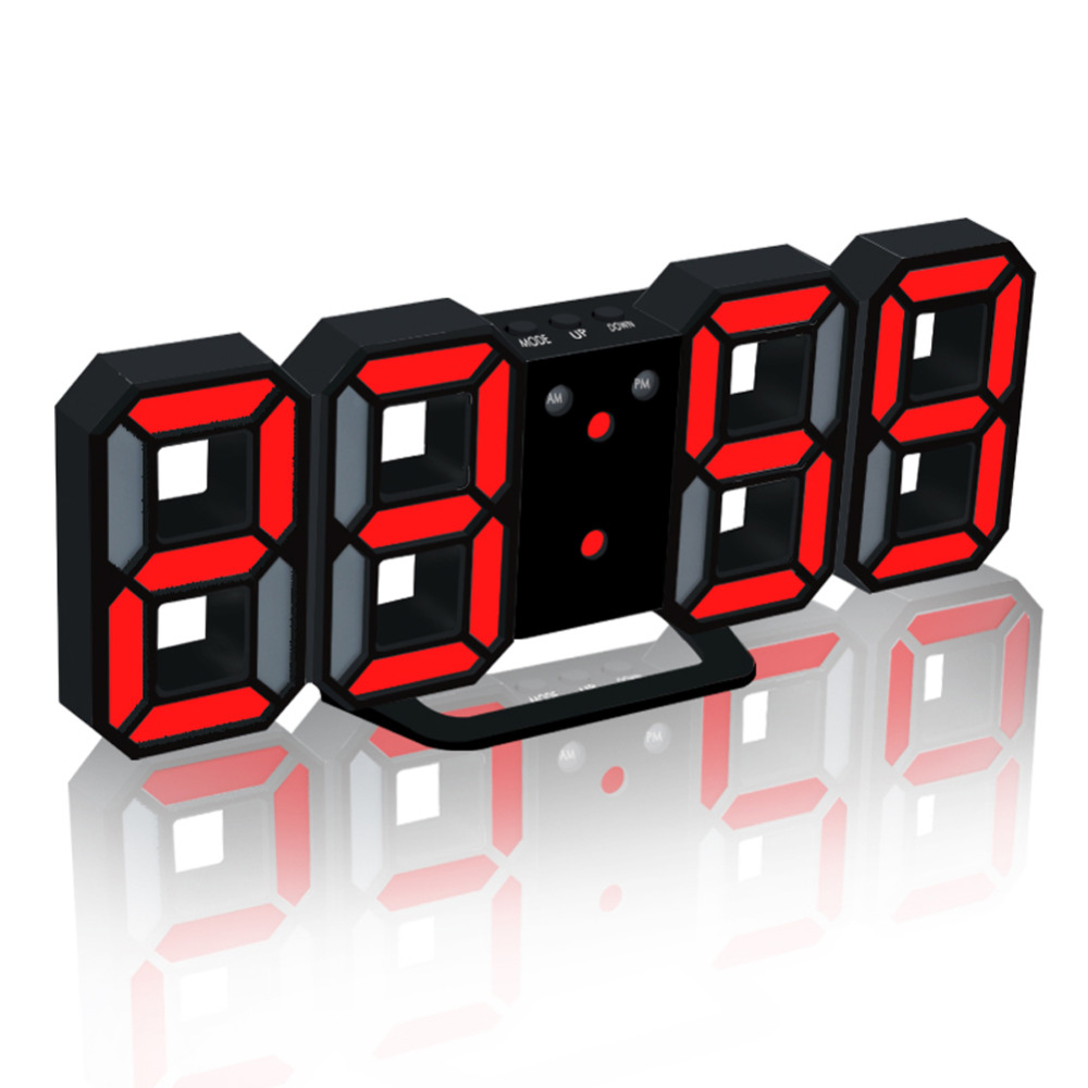 EAAGD 1 Set Hot LED Digital Alarm Clock Upgrade Version 8888 Wall Clock Can Adjust the LED Brightness Automatically in Night -BR