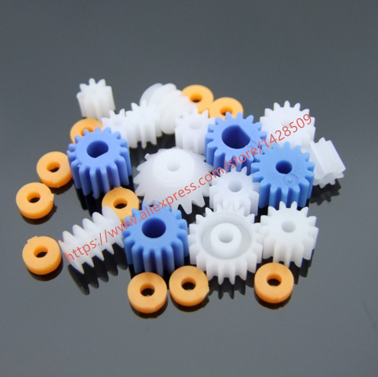 16 Pcs Different Type Mini Plastic Gear 0.5 Modulus Plastic Bearing Gear Set DIY Worm Gear Axle Gear