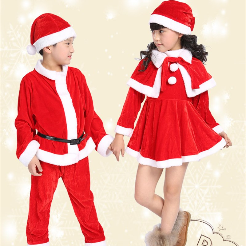 20 setslot free shipping red santa claus christmas costumes for kids xmas clothes outfits children boys suits girls dresses
