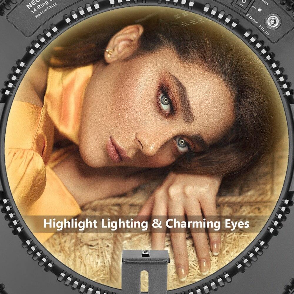 Neewer extérieur Dimmable bi couleur SMD LED anneau lumière Kit d'éclairage pour caméra/Smartphone Photo Studio vidéo prise de vue + batterie li ion - 6
