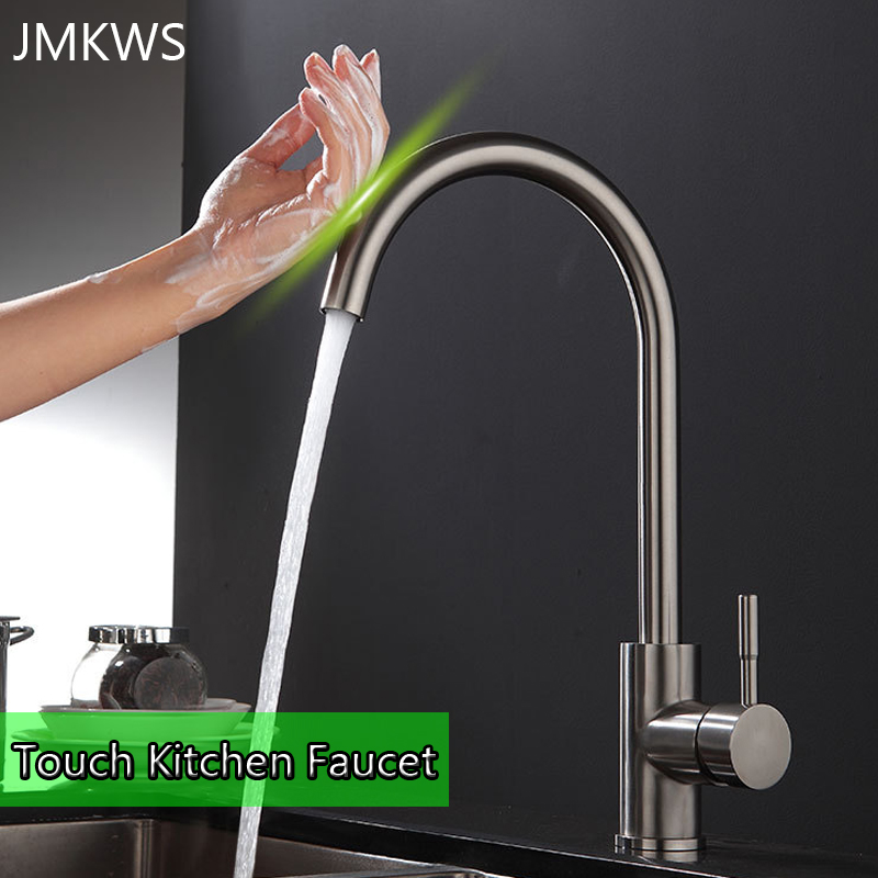 Lead-free Touch Kitchen Faucet SUS304 Stainless Steel Intelligent Sensor Tap Brushed Cold & Hot Water Mixer Faucet Single Handle sus304 stainless steel lead free drinking water filter tap hot and cold water purifier kitchen faucet surface brushed dona1004