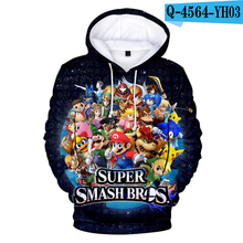 Super Smash Bros Hoodie Printed Pullover Sweatshirts Hooded Anime Cute Printed Hoodies Men Cartoon Hoodies 3D Hoodie Kids Funny