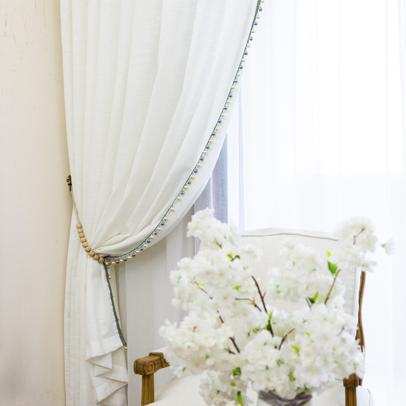 European and American Style White screen Thickened cotton Linen Customized Half-window Balcony Curtain for Bedroom Living Room