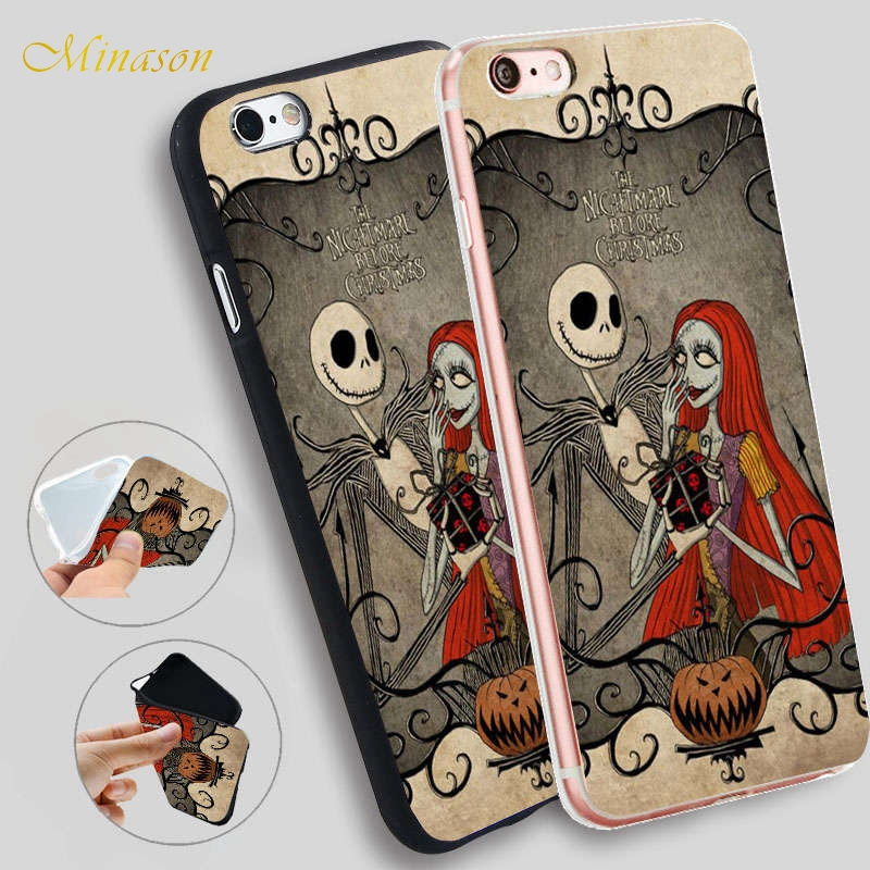 Minason Jack Skellington The Nightmare Before Christmas Soft Phone Case for iPhone X 8 7 6 6S Plus 5 SE 5S Cover