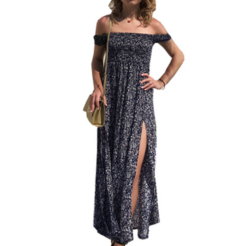 Sexy Off Shoulder Women Summer Dress 2018 Strapless Long Maxi Dress Sundress Women Summer Tunic Boho Beach Dress Robe Femme