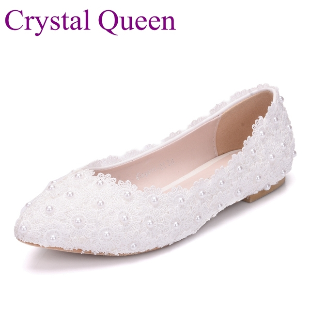 a703ffddc660 Crystal Queen White Lace Wedding Shoes Flat Heels Pointed Toe Plus Size Ballet  Flats Women Bridal Shoes
