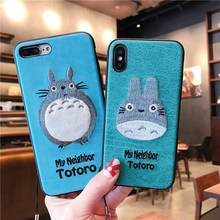 3d Embroidery Leather Phone Case Iphone 7 Bear Totoro Dinosaur 6 6s 8 Plus X Xr Max