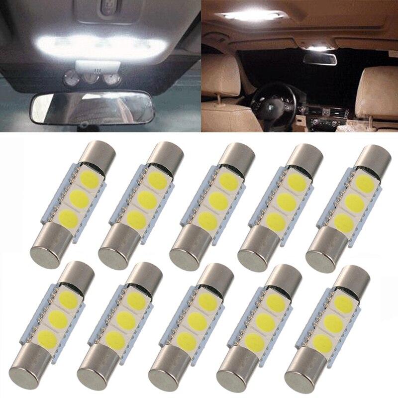 Lot50 31MM 3-SMD 6641 Fuse Car Auto LED SUN Visor Vanity Mirror Light Bulbs 6641