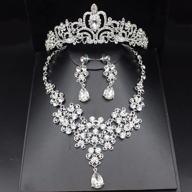 Sparkling Silver Wedding Bridal Jewelry Sets For Women Prom Accessories Tiara Bride Necklace