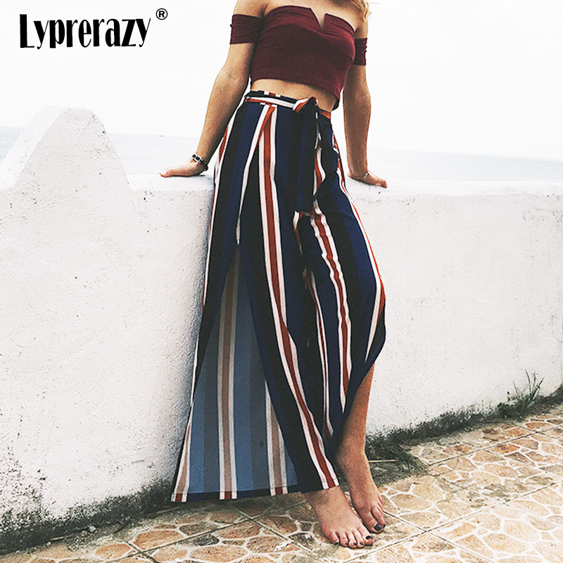 Lyprerazy Chic streetwear sash casual High split stripe wide leg   pants     capris   female Women Summer beach high waist trousers