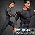 Europea de compresión Pants + Tops de Los Hombres de Secado rápido Transpirable Sensación Fresca Para Hombre Largos De Fitness Ropa Interior Faja
