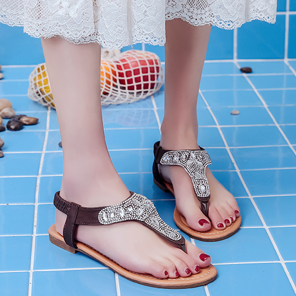 US $5.8 28% OFF|Summer Sandals Women 2019 Fashion Crystal Gladiator Sandals Women Shoes Clip Toe Flat Sandals Casual Sandale Femme in Low Heels from