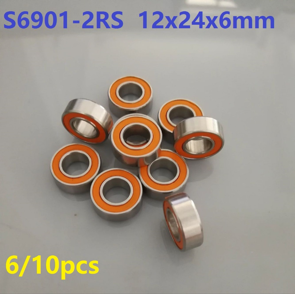 6pcs or 10pcs S6901-2RS 12x24x6 ABEC-7 Stainless Steel hybrid Si3n4 ceramic bearing 6901 2RS RS CB LD for fishing reel 12*24*6 1pcs fishing reel bearing s686 2rs abec 7 6 13 5 stainless steel hybrid ceramic ball bearings s686rs s686 2rs cb 6x13x5 mm