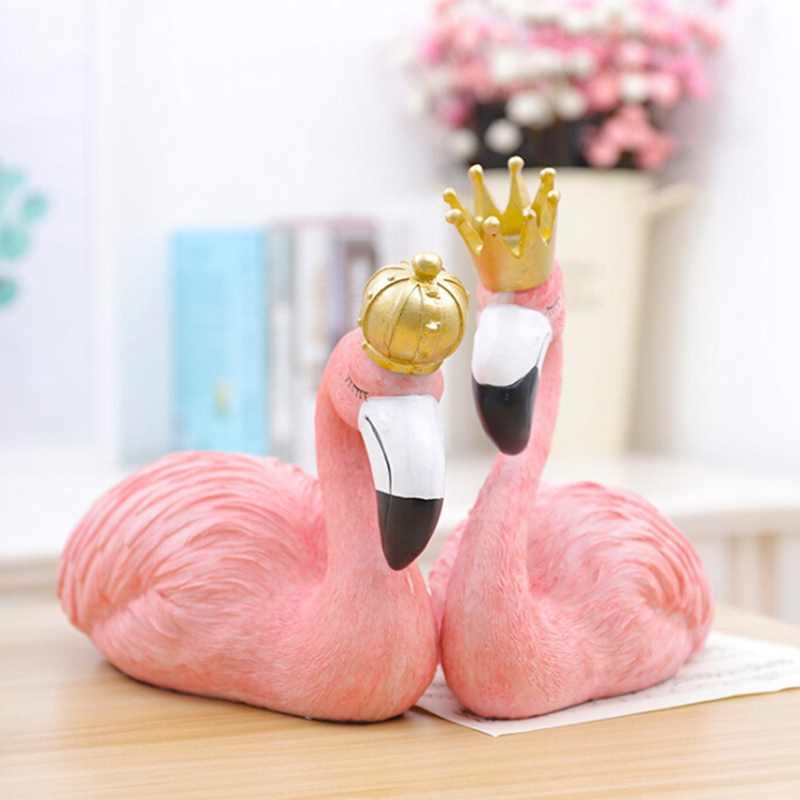 Ins Fashion Desk Decoration Big Flamingo Ornaments Decorative Figurines Home Decor Resin Craft Wedding Lovers Creative Gift