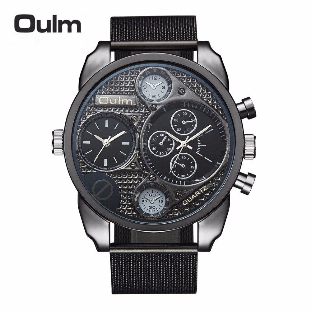 699b485e5a4 Marca Oulm 9316 Dos Homens Relógio Banda de Aço Inoxidável Relógio de  Quartzo Dual Time Zone Militar Net Esportes Relógios Relogios Masculino