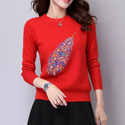 Women Fashion Pullover Sweaters Girls Cashmere Long Sleeve Sweater O-neck High Elastic Embroidery Knitted Jumper Sweater B-9297