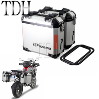 Universal Chrome Motorcycle 36L Left Right Side Box Side Case Saddle Bag Luggage Pannier Cargo For BMW F800GS F800R 2009 2014