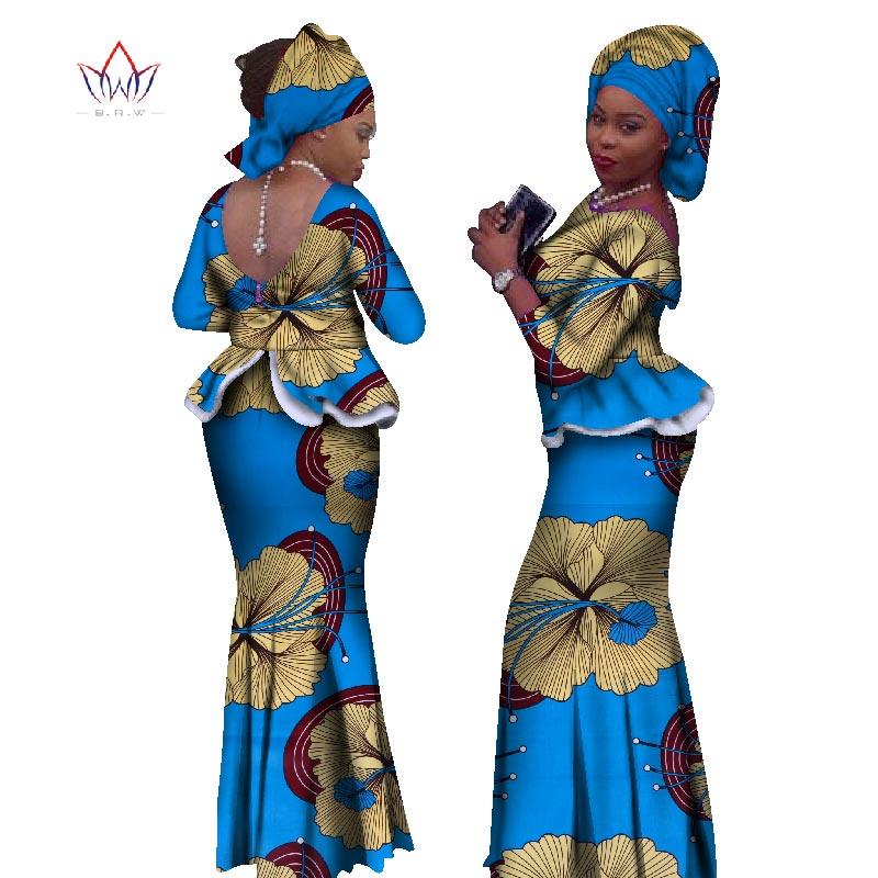 2019 Africký styl dvoudílná sukně sada Dashiki Elegantní oblečení prohrábne Sexy Crop Top a Sukně Dámské Sady pro svatbu WY1057